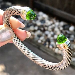 David Yurman 7mm Cable Cuff with Peridot & 14K